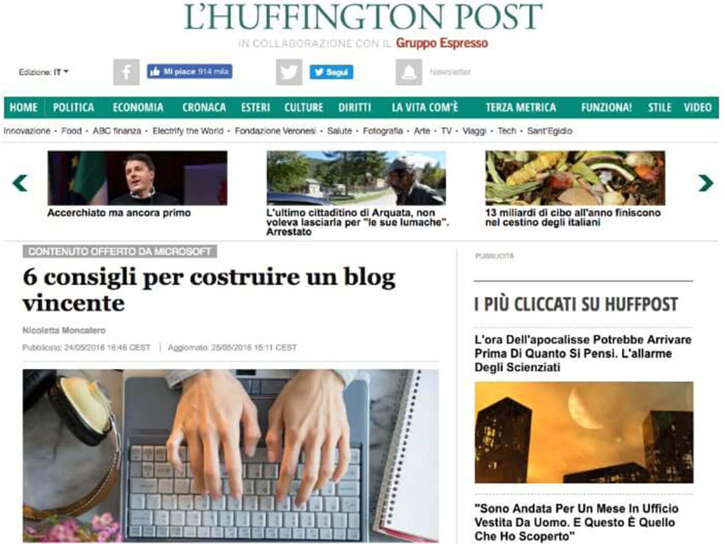 Microsoft su huffington post